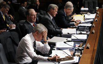 Senate Finance Committee members, Sept. 22, 2009, during opening remarks of the committee's markup of healthcare legislation. AP Images</br>