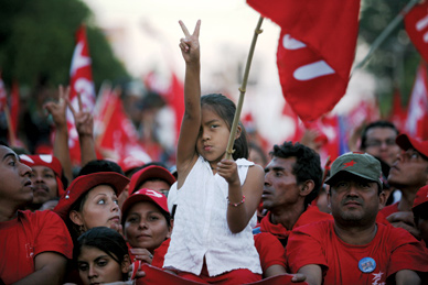 A young supporter of FMLN presidential candidate, now president-elect, Mauricio Funes. RODRIGO ABD/AP